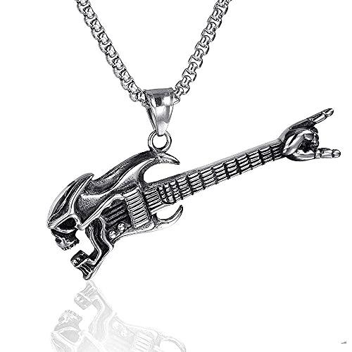 Collar Hombre Surfero,Rock Skull Guitar Collar Hombres Hip-Hop Rap Street Culture Acero inoxidable Color Plata Collar Cadena Hombres Trend Jewelry