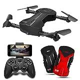 Drone Skye, Drone Pliable avec Caméra, 500W HD WiFi FPV Diffusion en Direct, App-Control, Une Touche De Démarrage/Atterrissage, Le Mode sans Tête, Contrôle Gestuel,Noir
