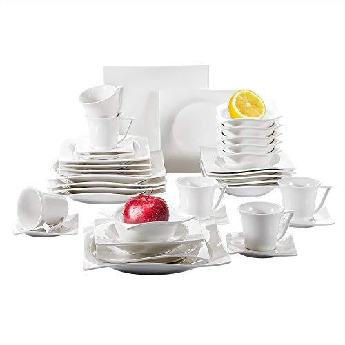 ancasso, Série Cloris, 36 Pcs Service de Table pour 6 Personnes, Service Complet Vaiselle en Porcelaine, 6 Bols