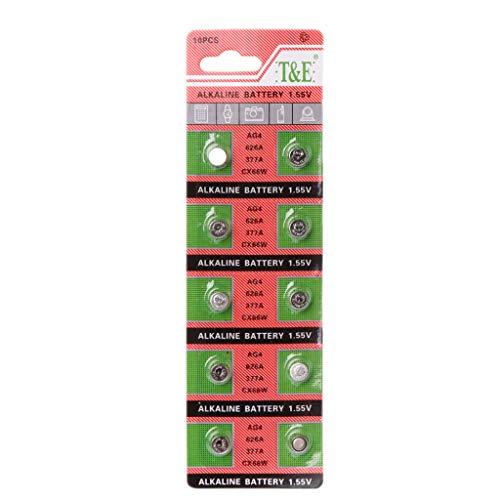 Batterien Knopfzellen Aisumi 10PCS Uhr-Münzen-Batterie AG4 377A 377 LR626 SR626SW SR66 LR66 Knopfzellen-Batterien Spielt Fernkamera
