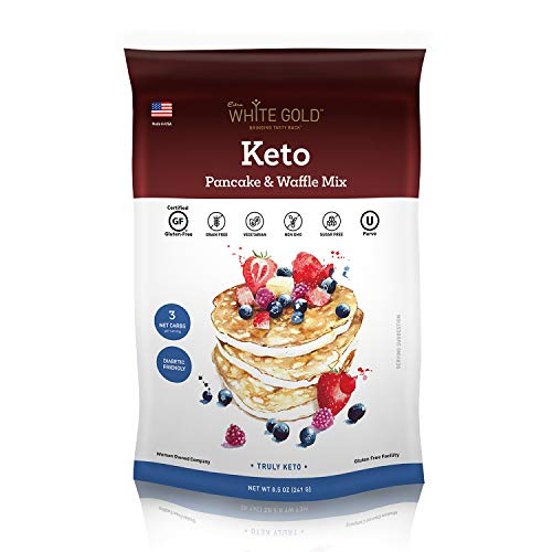 Extra White Gold Keto Pancake & Waffle Mix - Low Carb Keto Mix, Sugar-Free, Gluten-Free, Diabetic Friendly 8.5oz / 241g