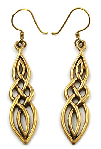 Bronze Filigree Celtic Knot Spiral Twisted Drop Dangle Earrings Fish Hook Vintage Thailand Jewelry