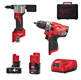 Pack perceuse-visseuse riveteuse 12V Redlithium-ion - 2 batteries - 1 chargeur 12V