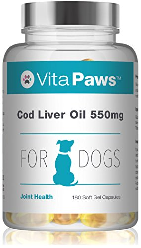 Cod Liver Oil for Dogs 550mg | 180 Soft Gel Capsules | Support The Health of The Skin and Coat | Manufactured in The UK