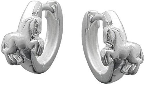 Kinder Ohrringe Creolen Pferd 925 Sterling Silber 12 x 2 mm glänzend Schmuckbox Ohrschmuck Mädchen Damen