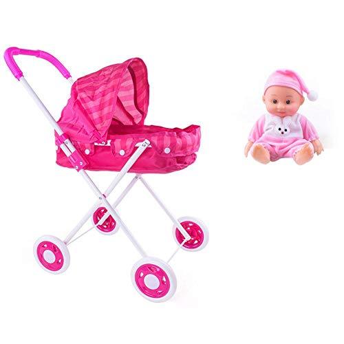 arthomer 1pc bebé montado Buggy Cochecito muñeca casa Carro Juguete con 1pc muñeca