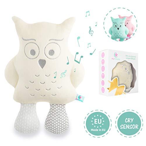 """MyDreamys Hummy Plüsch Eule """"Jezzy"""" - Hochwertiges Kuscheltier mit Cry Sensor, spielt 5 Melodien und 5 White Noise Geräusche als Einschlafhilfe für Babys und Kinder - Perfektes Geschenk"""
