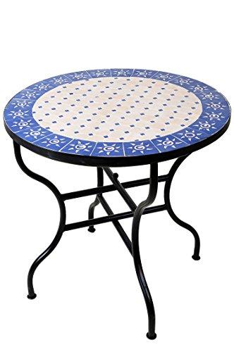 ORIGINAL Marokkanischer Mosaiktisch Gartentisch ø 80cm Groß rund klappbar   Runder klappbarer Mosaik Esstisch Mediterran   als Klapptisch für Balkon oder Garten   Sonne Natur Blau 80cm