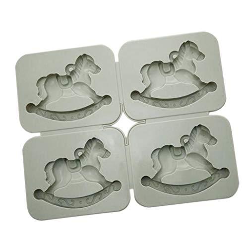F Fityle Stampo in Silicone per Cioccolato Cioccolatini a Forma di Carosello Perfetto per La Produzione di Cere Aromatiche, Saponette A Candela - A: 4 Cavalli