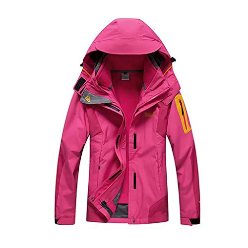 NYKK 3 in 1 Water Resistant Jacket - Adjustable Hood Womens Windproof Mountain Coat, Detachable Inner Fleece Rain Jacket - for Cycling, Running & Walking (Color : A, Size : XXL)