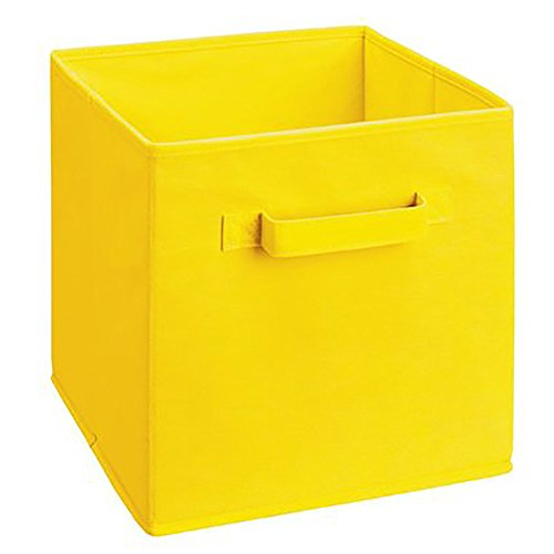 Cesta amarilla de almacenaje plegable de tela