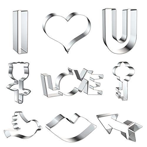 Ausstechformen-Set zum Valentinstag, 9-teilig, groß, Edelstahl, I Love U, Herz, Rose, Lippen, Kuss, Pfeil, Schlüssel, Vogel, Paar, Liebesvorschlag, Valentinstagsgeschenk für Sie und Ihn