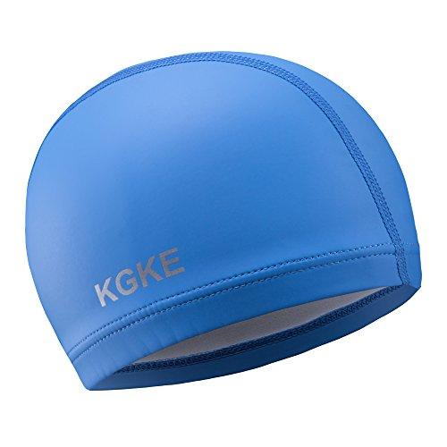KGKE Swim Cap Silicone Suitable for Long or Short Hair Waterproof Keep Men and Women Hair Dry (Blue)