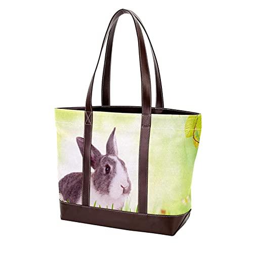 NaiiaN Monedero Bolsos de compras Bolso de mano Bolsos de hombro lindo conejo en pasto con huevos de colores espacio libre Correa liviana para madres Mujeres Niñas Señoras Estudiante