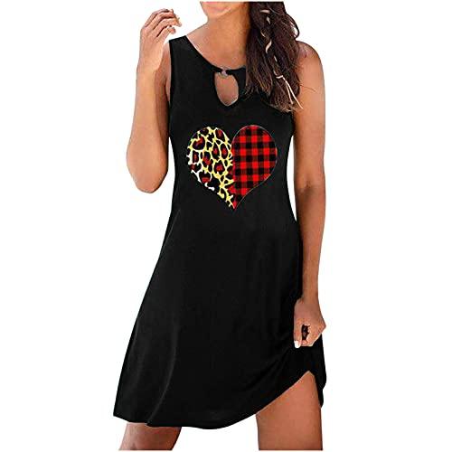 Vestidos de verano para mujer, vestido de sol para mujer, casual, sin mangas, cuello en O, para mujer, pequeño, casual, vestido de túnica