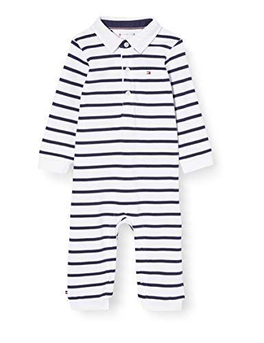 Tommy Hilfiger Unisex Baby Rugby Stripe Coverall L/s Body, Blau (Blue 0A4), 62/68 (Herstellergröße: 68)