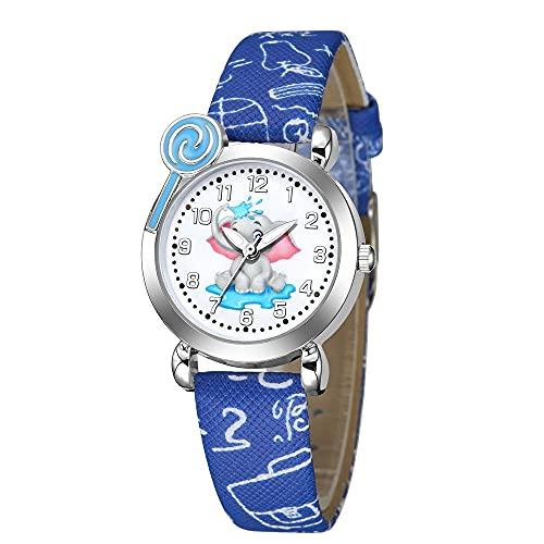 CXJC Caja de Plata Reloj de Cuarzo para niños y Mujeres de Plata, Reloj de Deportes de patrón de Elefante Lindo, una Variedad de Colores Disponibles (Color : Re)