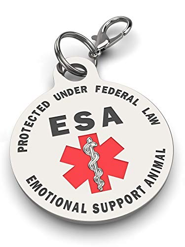 Double Sided Small Breed Emotional Support Animal ESA Tag Red Medical Alert Symbol and Protected by Federal Law .999 inch ID Tag. Easily Switch Between Collars Harness and Vest.