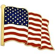 PinMart Made in USA Waving American Flag Enamel Lapel Pin - Gold