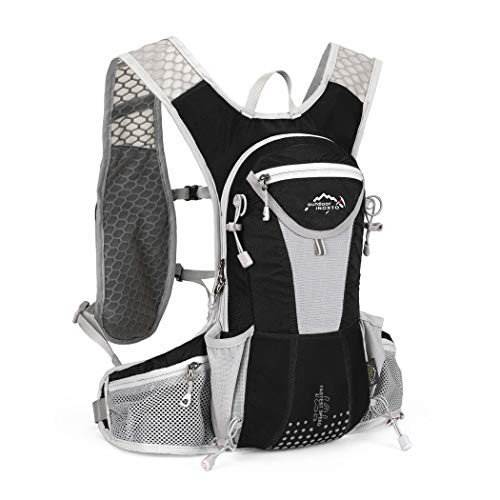 IBTXO Hydration Pack Backpack 12L Outdoors Marathoner Running Race Hydration Vest with Water Bladder for Hiking Skiing Running Cycling Camping Fits Men and Women (Black-Only Backpack)
