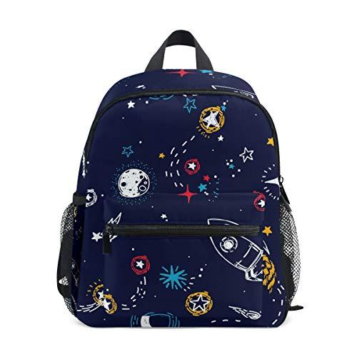 Modischer Kinder-Rucksack, handgezeichnet, Universum Rakete, hochwertiger lässiger Tagesrucksack, leichter Canvas, für 3–8 Jahre, Kleinkinder, Kinder, 25,4 x 10,2 x 30,5 cm