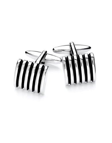 Vincenzo Boretti Herren Manschettenknöpfe rechteckig Silber-schwarz Lackeinlage Box Etui edel elegant zum Hemd für Business Hochzeit