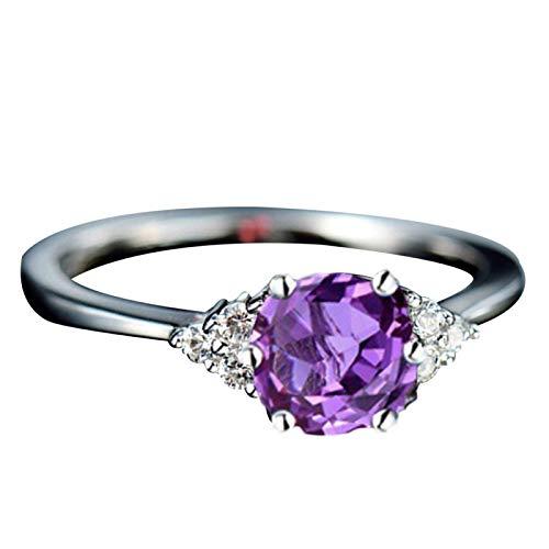 Anillo de dedo Benoon, anillo de dedo para mujer, imitación de zafiro granate, esmeralda, piedra preciosa, regalo de joyería de boda - púrpura US 10