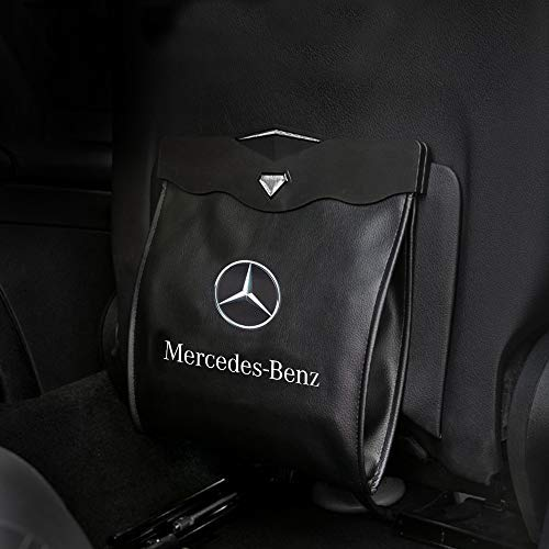 MASHA 1PCS Mercedes Benz Car Garbage Bin Trash Cans Garbage Bags Wastebasket Vehicle Rubbish Container Back Seat Hanging Auto Organizer Fit for Mercedes Benz All Model Accessories
