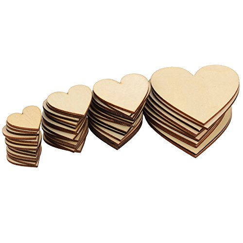 Outus 160 Pieces Christmas Blank Wood Heart Embellishments Wood Heart Slices for Wedding, Valentine, DIY, Arts, Crafts, Card Making