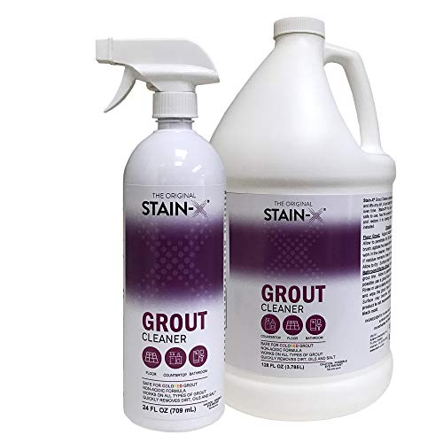 Stain-X Grout Cleaner Spray for Tiles, Floors and Walls with No Harsh Chemicals Value Pack 1 Gallon 24 oz