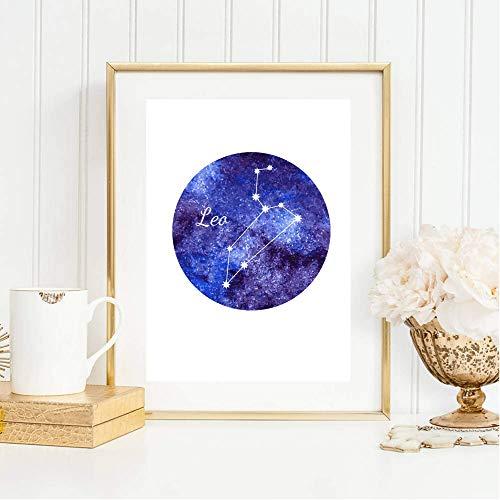 Din A4 Kunstdruck ungerahmt Sternzeichen Horoskop Löwe Leo Astrologie Sterne Sternhimmel Sternbild Druck Poster Deko Bild