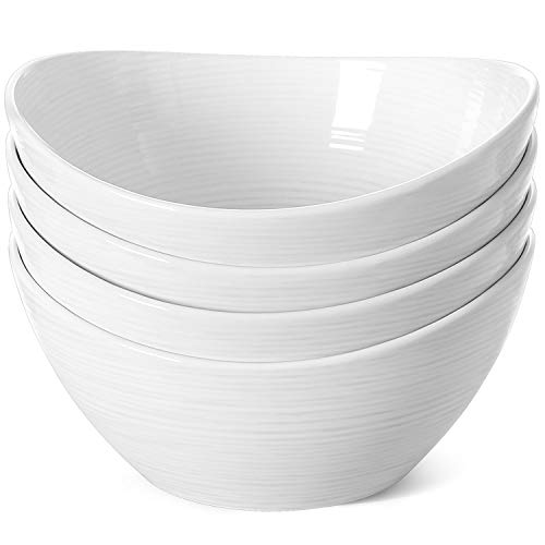 LE TAUCI Salad Bowls 44 Ounce,8.5 inch Ceramic Serving Bowl Sets for Pasta, Cereal, Popcorn, Snack - Set of 4, White