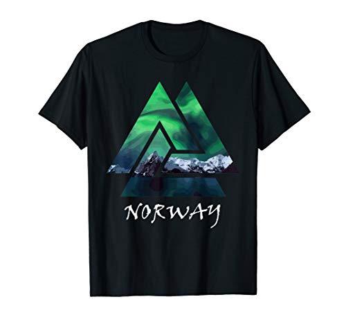 Norwegen Northern Lights Geometrische Shirt, Norwegen Reisen Geschenk