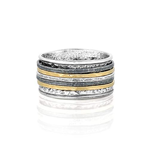 PZ Paz Creations 925 Sterling Silver Tri-Color 5-Spinner Ring for Women Men | Organic Design | Made in Israel (Yelow Gold, 9)