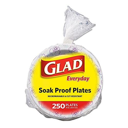 """Glad Round Disposable Paper Plates for All Occasions   Soak Proof, Cut Proof, Microwaveable Heavy Duty Disposable Plates   10"""" Diameter, 250 Count Bulk Paper Plates"""
