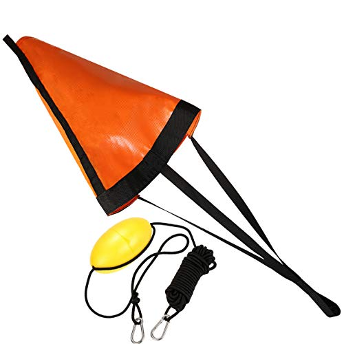 MOPHOEXII 24' Orange Drift Sock Sea Anchor Drogue with 30ft Kayak Tow Rope Line Buoy Ball Float...