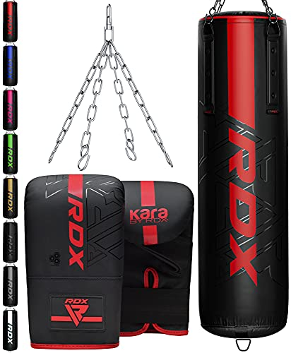 RDX Punch Bag 5ft 4ft Heavy Filled Set, Non Tear Maya Hide Leather Adult Bag Punching Gloves Chain, KARA Patent Pending, Kickboxing Boxing MMA Muay Thai Karate Training Workout