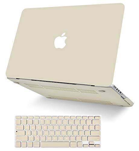 "KECC Laptop Case for MacBook Air 13"" Retina (2020, Touch ID) w/Keyboard Cover Plastic Hard Shell Case A2179 2 in 1 Bundle (Cream)"