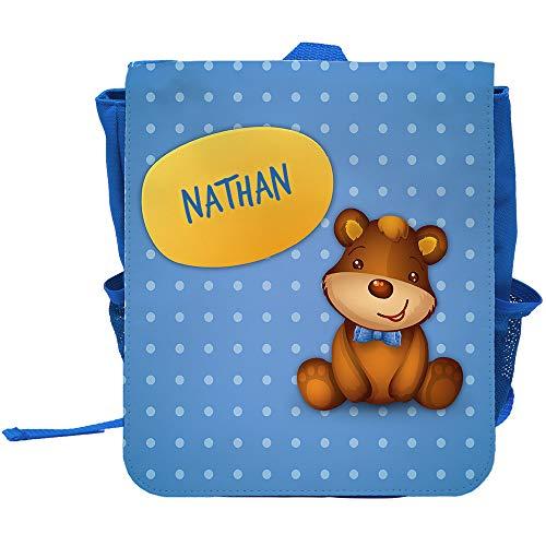 Kinder-Rucksack mit Namen Nathan und schönem Bären-Motiv für Jungen