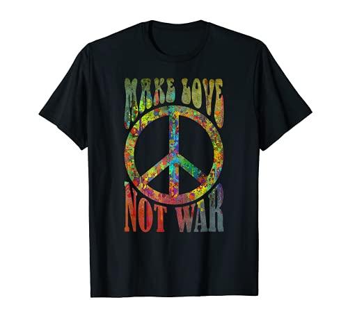 Retro Flower Power Batik - Make Love Not War 5 - Fun T-Shirt