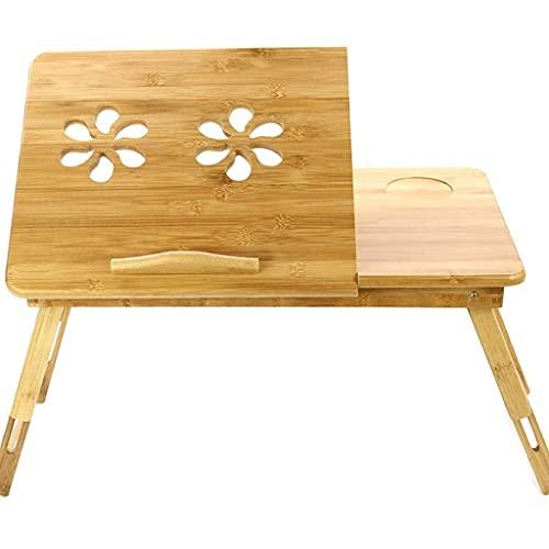 GZQDX Ordenador portátil Que dobla la Tabla de bambú Portablefor la Sala de Estar, Escritorio, terraza, Oficina, Cocina y Sala de Estar