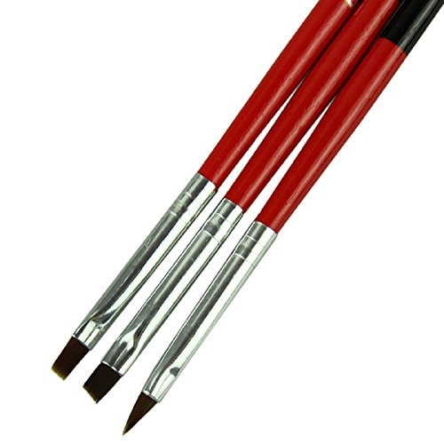 Tonsee 3pcs/lot Rouge Doux et professionnel Pen Nail Art Pinceaux Tool Set
