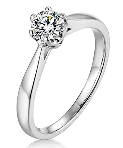 AtHomeShop 925 Sterling Silver Rings for Women, White Cubic Zirconia Engagement Rings, Elegant Wedding Rings Women's Rings 6 Bridge Claw Setting, Real Gold Jewellery with Jewellery Box silver