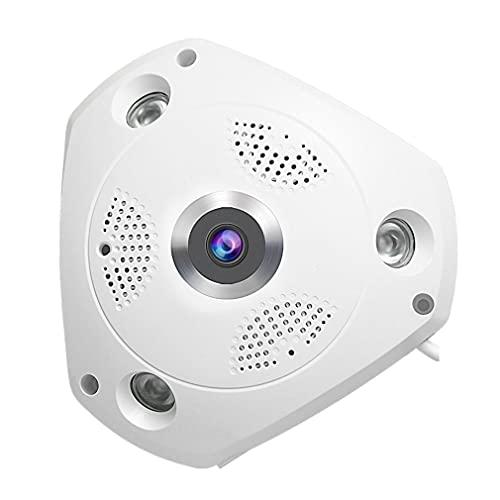 XWEM Cámara IP Inteligente de 3 Millones de píxeles HD, Panorama de 360 Grados VR Webcam Micro SD Tarjeta monitoreo de Audio Remoto de la cámara de vigilancia de FishEye (sin Tarjeta de Memoria)