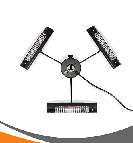MyMaxxi | elektrisch Sonnenschirm Infrarot Heizstrahler 3000W für Terrasse | Outdoor parasol heater | Terrassenstrahler mit Fernbedienung für Draussen | höhenverstellbar und verstellbare Wärme Stufen