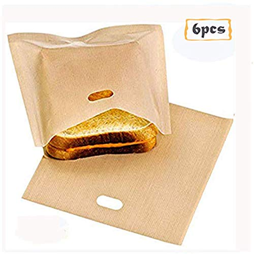 Toaster Bags, Non Stick Reusable Toaster Bag 6PCS Heat Resistant Microwave Oven Toaster Sandwich Bags - Perfect for Grilled Cheese Pizza Slices Chicken Nuggets Fish Vegetables Panini Toast