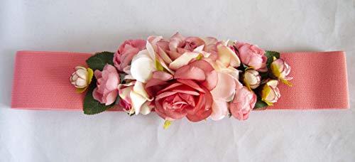 Cinturón elástico para vestido fiesta rosa salmón con adorno de flores....