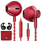 AzukiLife Auriculares In Ear, Auriculares con Cable y Micrófono Headphone Sonido Estéreo para Android, Smartphone, Samsung, Laptop, MP3,Tablets - Rojo
