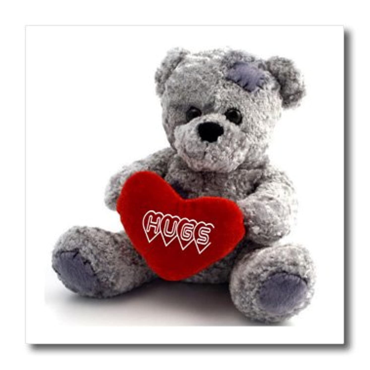 3dRose Gray Teddy Bear with Hugs on A Red Heart-Iron on Heat Transfer, 8 by 8