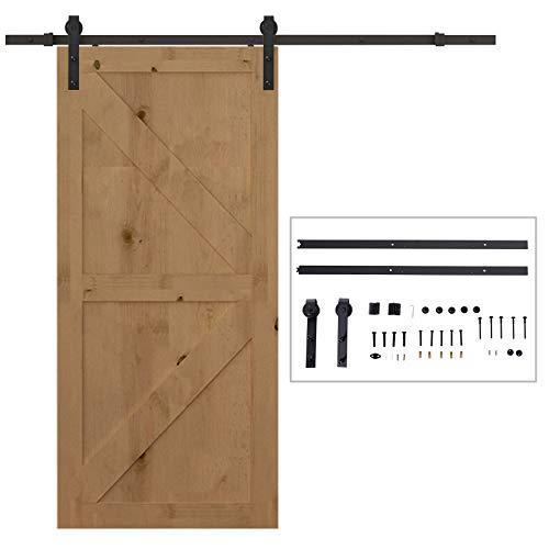 HOMCOM Herraje Puerta Corredera 200 cm Kit de Riel Adecuado para 1 Puerta Granja de Madera de 100 cm de Ancho Acero de Carbono Carga Máx. 90 kg